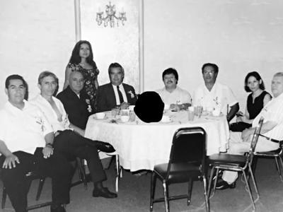 30072017 Desayuno de locutores, hace varios años: Gerardo, Héctor, Alejandro, Fernando, Jorge Alberto, Alfredo (f), Laura y Ángel García Castillo.