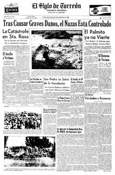 El Palmito recibía aportaciones superiores a los 8 mil m3/s y se pronosticaba que fuera la mayor creciente del siglo. Aunque se esperaba controlar parte de la avenida a través de la recién construida presa Francisco Zarco, el gasto alcanzó hasta mil 806 m3/s.
