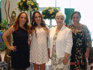 10082017 BABY SHOWER.  Michelle Taboada B. con Elisa Galván, Marisol y Miriam Taboada.