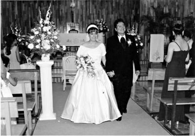 20082017 Sandra Lorena Arreola Franco y Raúl García Espinoza el día de su boda el 14 de agosto de 1999.