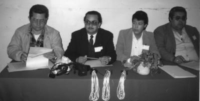 29082017 Integrantes del jurado de un concurso estudiantil de oratoria, hace décadas. José Trinidad Rodríguez Miranda, Jesús Máximo Moreno Mejía, Sergio Uribe Rodríguez y José María Mena Rentería, representando los principales diarios de Torreón.