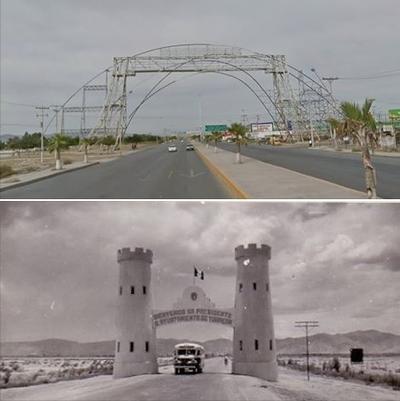 Arturo Salas. Entrada a Torreón en la carretera Torreón-Matamoros.