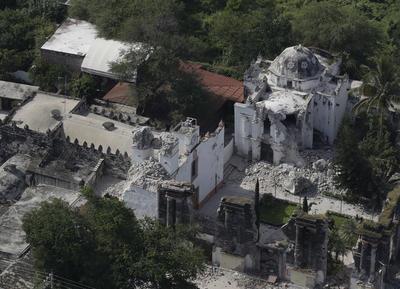 Edificios históricos, como las iglesias del municipio de Jojutla se vieron muy afectadas por el terremoto.