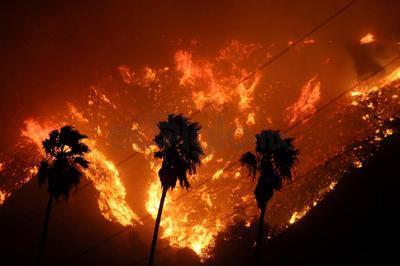 El humo oscureció el cielo del condado Ventura, ubicado a poco más de 90 kilómetros al noroeste de Los Ángeles.