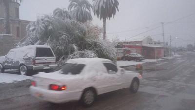 En el municipio de Ocampo la nieve cubrió las calles.