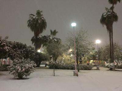 Monclova, ciudad de la región Centro, también registró una nevada.