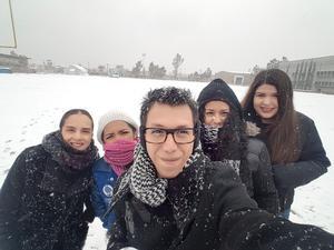 17122017 EN LA NIEVE.  Pineda Damián, Paulina Valenzuela, Paulina Rivera, María Robles y Nadia Román.