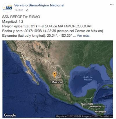 08 de octubre. Sismo | El Servicio Sismológico Nacional informó de una magnitud de 4.2 grados a 21 kilómetros al sur de Matamoros, Coahuila.