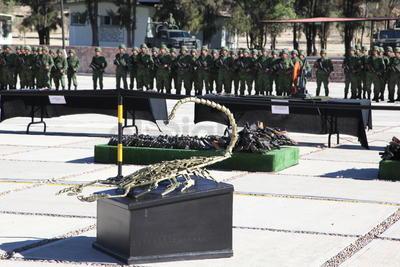 Un total de 2 mil 78 armas de fuego fueron destruidas por el Ejército Mexicano.