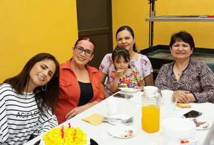 07032018 CELEBRA SU CUMPLE.  Erika acompañada de Luz, Vanessa, Andrea y Rocío.
