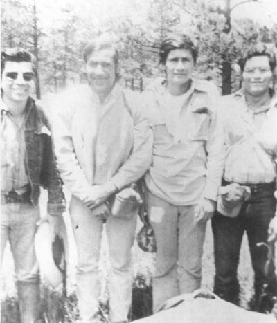 25032018 Juvenal Cantú, Armando Gallegos, Ricardo Acosta y Fernando Heredia de cacería en la Sierra de Durango en 1970.