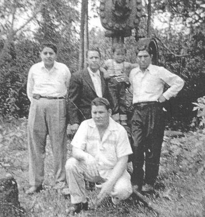 25032018 Francisco Padilla, Francisco Samaniego S., Rubén Saucedo Limón y Luis Pérez en Naranjos, Veracruz, el 18 de marzo de 1954.