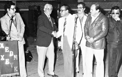 22042018 Año 1976 aniversario de la XEDN Don Felix Alonso (f) Jesús Manríquez (f) y Víctor Manuel Rodríguez.