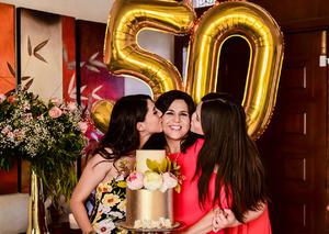 Con sus hijas Magda y Daniela