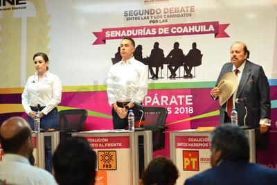 Los candidatos que debatieron son: José Guillermo Anaya Llamas, por la coalición Por México al Frente (PAN-PRD-MC); Verónica Martínez García, por la coalición Todos por México (PRI-PVEM-PNA), y Armando Guadiana, por la coalición Juntos Haremos Historia (PT-Morena-PES).