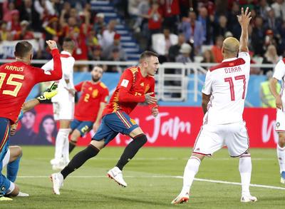 Aspas festeja su gol ante Marruecos.