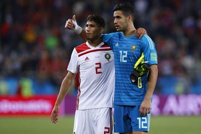 Los jugadores marroquíes agradecen el apoyo de su afición.