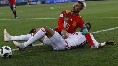 Ramos peleó todas y cada una de las jugadas en el partido ante Marruecos.