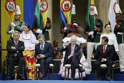 De izquierda a derecha, Lenin Moreno, presidente de Ecuador; Mauricio Macri, presidente de Argentina; Sebastían Piñera, presidente de Chile y Enrique Peña Nieto, presidente de México.
