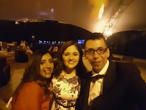 29082018 EN FESTEJO.  Diana García y Martha Delgado junto a su padrino, Pineda Damián.
