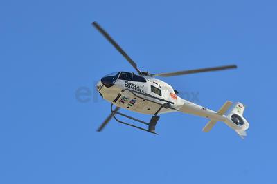 El helicóptero de Fuerza Coahuila sobrevoló el área por donde pasó el contingente.