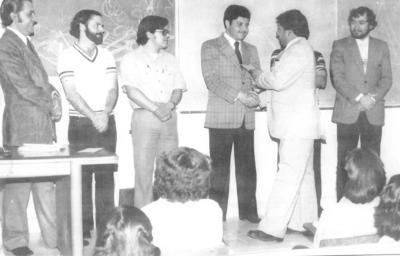 16092018 Salvador Hernández, Rodolfo Castro, Manuel Aguilera, Enrique Canales y Luis Atkins, en 1981.