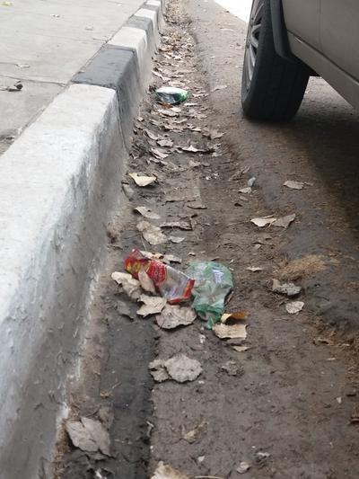 Arroyo. Es muy común ver basura en el arroyo de la calle justo donde inicia la banqueta en cualquier parte de la ciudad. (EL SIGLO DE DURANGO)