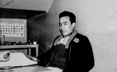 Sr. Antonio Samaniego Rueda, de 21 años, en su trabajo el 11 de febrero de 1966. Hoy, don Antonio tiene 73 años de edad.