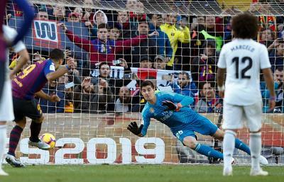 Así marcó Suárez el primero de sus tres goles ante Real Madrid.