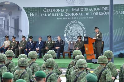 Por su parte, la Secretaría de la Defensa Nacional (Sedena) entregará al gobierno de Coahuila las instalaciones donde estuviera el Hospital Militar, que estaba ubicado en la Prolongación Colón frente al Auditorio Municipal.