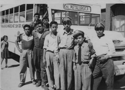 30122018 Choferes de la ruta Metalúrgica Sr. Clemente acompañado de compañeros choferes en 1956.