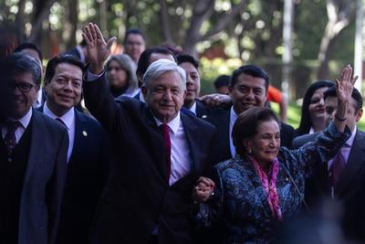 López Obrador a su llegada a San Lázaro.