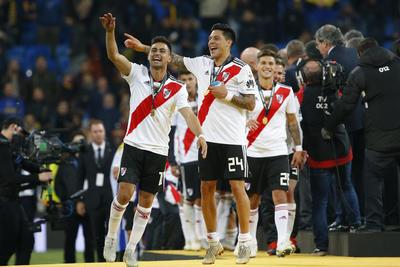 Festejo de los jugadores de River Plate tras conseguir el campeonato.