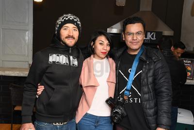 Rolando Valdez, Jimena Ramos y Guillermo Lugo, organizadores del evento.