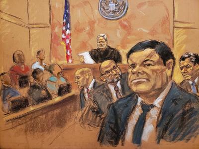 """El jurado del caso en Nueva York contra el mexicano Joaquín """"El Chapo"""" Guzmán, procesado por narcotráfico, lo declaró este martes culpable de los 10 cargos que se le imputaban, por lo que podría ser condenado a cadena perpetua."""