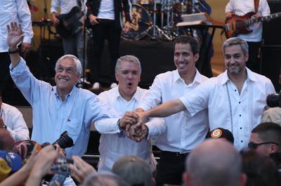 El presidente de Chile, Sebastián Piñera; el presidente de Colombia, Iván Duque; el jefe del Parlamento venezolano, Juan Guaidó; el presidente de Paraguay, Mario Abdo Benitez.