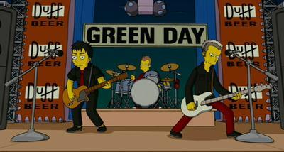 Green Day tuvo su aparición al inicio de la película de Los Simpsons, donde se les ve también parodiando la escena del hundimiento del Titanic.