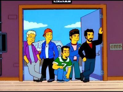 La boyband Nsync apareció en el episodio donde la banda de Luxo conformada por Bart, Milhouse, Nelson y Rafa Górgori formaron una agrupación para reclutar jóvenes a la Marina de EUA.