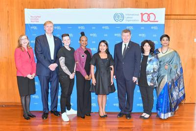 La actriz fue una de las invitadas al evento con el que la Organización Internacional del Trabajo (OIT) celebró el Día Internacional de la Mujer.
