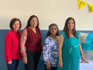 09032019 FIESTA DE CANASTILLA.  Irma, Reyna y Eloísa con Isela Rodríguez en el baby shower que se le organizó con motivo del nacimiento de Daniel.