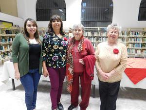 12032019 VELADA LITERARIA.  Génesis Peralta Priego, Blanca Domínguez, Fita Priego de Braham y Tony Priego Estrada.