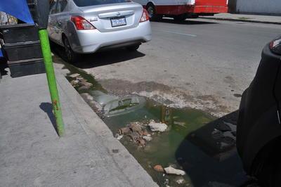 """Malos olores. Las fallas en el drenaje son un problema al que se enfrentan los negocios del centro de Gómez Palacio, esta fuga de """"agua negra"""" despide malos olores y es un foco de infección para los comerciantes y clientes de la avenida Victoria, a la altura de la Juárez."""