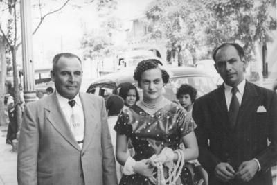 Sr. Don Alfonso Galván Castro (f), Sra. Amabilia Galván vda. de Ríos y Sr. Don Everardo Ríos Agüero (f) en 1955.