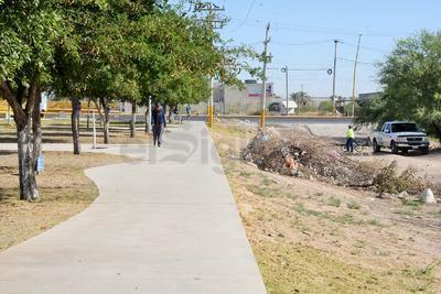 A un lado de la plaza se halla un montón de ramas secas y basura, que los visitantes dejan.