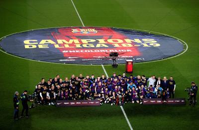 Barcelona aseguró su campeonato número 26 de la Liga Española al derrotar 1-0 a Levante, en el estadio Camp Nou con gol de Lionel Messi, en duelo por la fecha 35 del torneo 2018-2019.