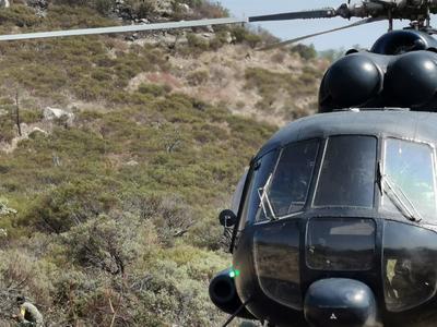 Una aeronave M1 de la Policía Federal traslada efectivos hasta las zonas en que se realizan mecanismos como brechas cortafuegos.
