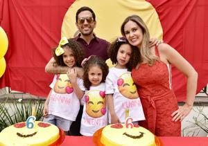 Salomón y Tatiana con sus hijas, Fabianna, Valentina y Luanna