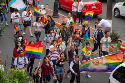 Durante la marcha se observaron diferentes banderas representativas.