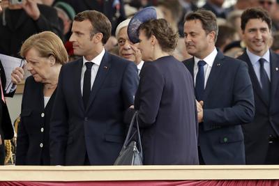 El presidente francés, Emmanuel Macron; la canciller alemana, Angela Merkel, y el primer ministro canadiense, Justin Trudeau.