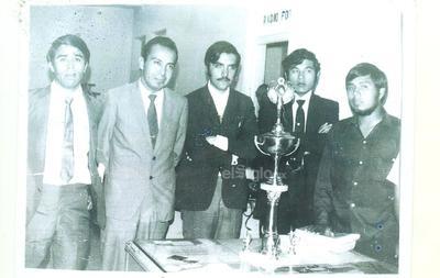 Filiberto Muñoz Cruz, Juan de Dios Castro Lozano, Enrique Canales Martínez, Alfredo Guevara Córdova y Alberto Medrano Briones participaron en un Torneo Universitario de Oratoria en los años 70.